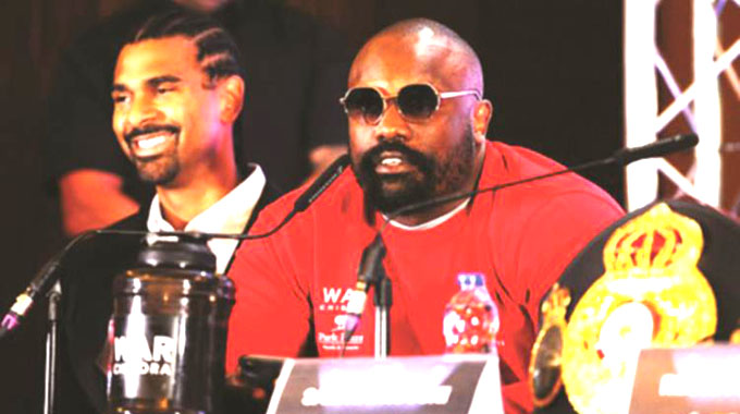 SHOOTING FROM THE HIP . . . Heavyweight boxer Dereck Chisora took over the media conference in London yesterday with a barrage of expletives as he demanded to be given special treatment and more money for his next fight — (Picture by Getty Images)