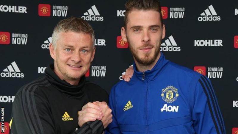 David de Gea, pictured with boss Ole Gunnar Solskjaer, joined Manchester United from Atletico Madrid in 2011