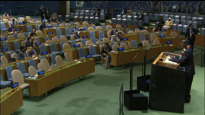 Addressing nearly empty auditorium.... Mnangagwa calls for end to US, EU sanctions