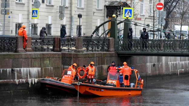 Police divers have been searching St Petersburg's Moika river (Picture by AFP)