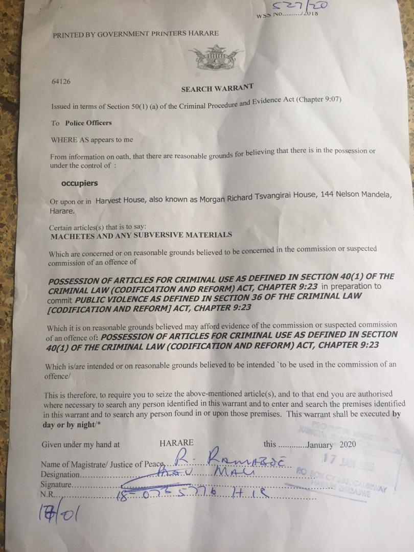 Machete search warrant used to raid MDC Headquarters